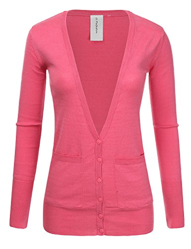 JJ Perfection Women's Ribbed Knit Deep V Long Sleeve Cardigan w/Dual Pockets SWEETPINK -