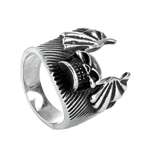 Retro Jewelry Vintage Estate (MoAndy Fashion Ring Men Stainless Steel Vintage Retro Silver Skull Wings Ring 6MM Size 10)