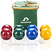 ApudArmis 107mm Bocce Balls Set, Outdoor Tournament Bocce Game for Backyard/Lawn/Beach - Set of 8 Poly-Resin B