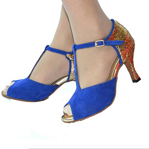 XUE Women's Latin Shoes/Ballroom Shoes Satin/Silk Sandal Indoor/Professional Buckle Heel Dance Shoes Party & Evening Black, Red, Blue, Orange (Color : A) A