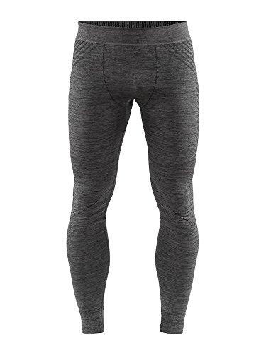 Craft Sportswear Mens Fuseknit Comfort Base Layer Wicking Athleisure Pants, Black Melange, X-Large
