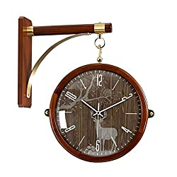Double Sided Wall Clock, Vintage Solid Wood Wall-Mounted Clock with Waterproof Cover for Indoor & Garden, Hanging Décor (Color : C)
