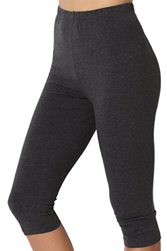 TheMogan Women's Basic Cotton Spandex Below Knee Length Leggings Charcoal S