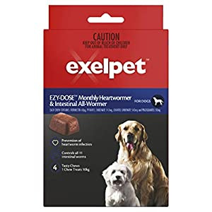 EXELPET Heart And Intestinal Dog All Wormer 4 x 6g Chews, 24g Click on image for further info.