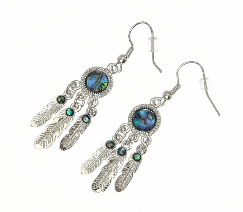 Beautiful Natural Inlaid Abalone Paua Shell Dreamcatcher Earrings In Gift