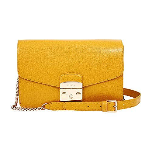 Furla Metropolis Ladies Small Yellow Ginestra Leather Shoulder Bag 978064