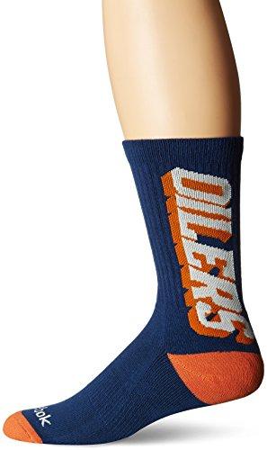 fan products of NHL Edmonton Oilers Men's SP17 Vertical Name Crew Socks, Blue, Size 12-15