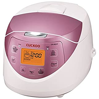 Cuckoo CR-0631F 6-cup Multifunctional Micom Rice Cooker & Warmer – 9 built-in programs, White/GABA, Mixed/Brown, Porridge, Steam, Slow-Cook, and My Mode [16 flavors and textures], White/Pink