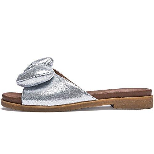 SOHOEOS Flip señoras verano Señoras plataforma señoras Beach de Silver Flop plana Vintage Flip Señoras Bow nueva al libre aire Flop Knot rrwdHq