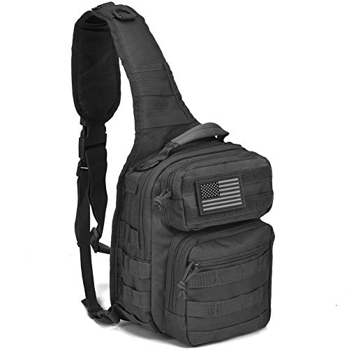 Tactical Sling Bag Pack Military Rover Shoulder Sling Backpack Molle Assault Range Bag Everyday Carry Diaper Bag Day Pack Black Small