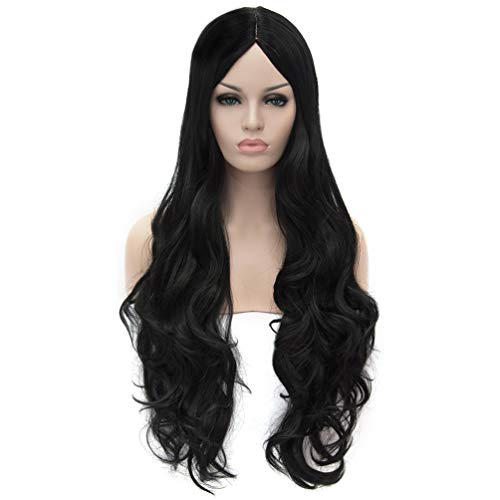 Flovex Women Long Wavy Cosplay Wigs Ladies Sexy Natural Costume Club Party Daily Hair with Wig Cap -