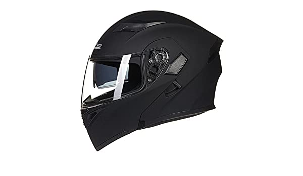 Amazon.com: JIEKAI Double Lens Helmet Modular Motorbike Helmet Flip Up Motorcycle Helmet For Motocross Racing (Medium, Black): Automotive