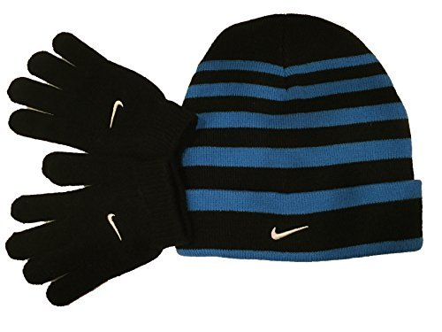 Nike Snow Stripe Set (Little Kids/Big Kids) Black/Blue Glow (8-20 Big Kids, Black/Blue)