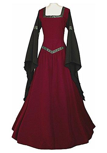 Plus Size Fairy Dresses (JeanewPole1 Women Renaissance Medieval Irish Costume Over Dress Long Sleeve Lace Up Cosplay Dresses)