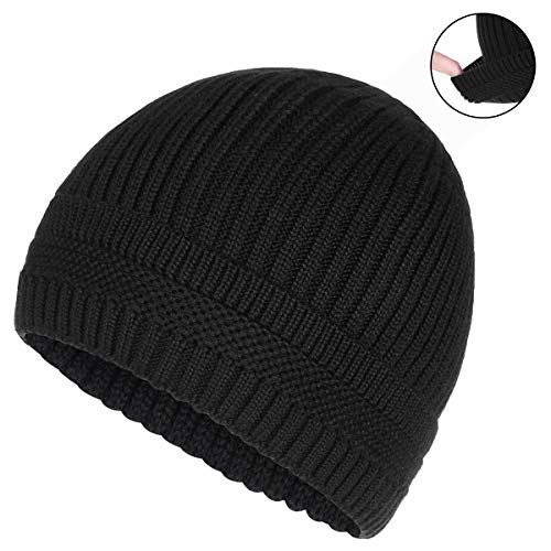 Hat Beanie Knit Ski (OMECHY Winter Warm Knit Beanie Hats Cuff Plain Toboggan Skull Ski Cap Black)