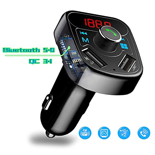 Car Charger, YUGUANG 36W QC 3.1 Dual USB Ports X8, Bluetooth 5.0 Handsets MP3 Player Hands-Free Call Smartphone APP Wireless Music USB/TF Card Power Cut Memory Function for All Smartphones