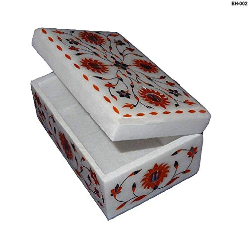Pietra Accents - Hariom Handicraft Export Pietra Dura Floral Rectangular Inlay Jewelry Trinket Box Handmade wedding Gift