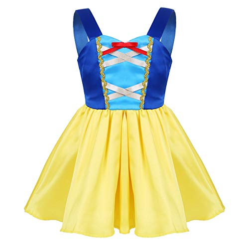 iEFiEL Kids Girls' Princess Dress Fairy Tale Sweetheart Fancy Party Costumes Halloween Cosplay Yellow&Blue 12 Months -