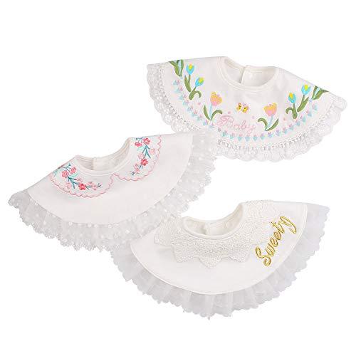 3 PCS Flower Baby Girls Bibs Infant Burp Clothes Baby Girls Saliva Towel Round Bib For Toddler (3PCS-G)