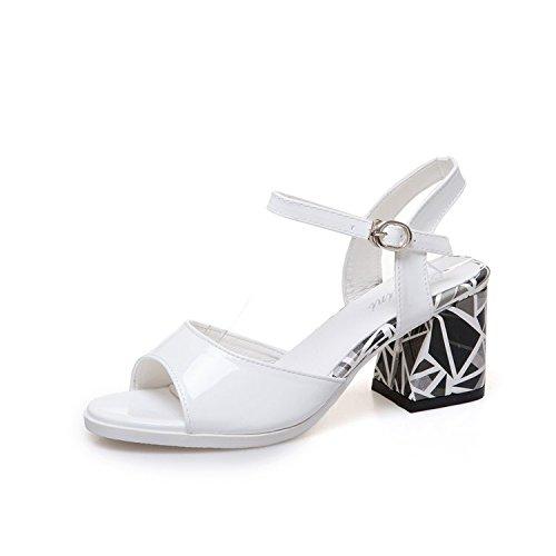 Hembra Moda Chanclas Wild Abierto Tacón Alto con Hebilla white Hebilla Sandalias Casual para Verano Espesor Word De Cómoda Y Mujer Zapato Sandalias T5Zq75