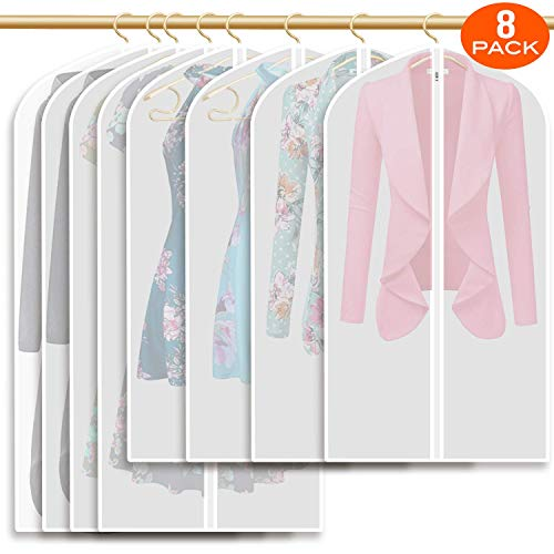 MONBLA 8PCS Garment Bag 55 inch Suit Bag for Storage,Washable Clear Lightweight Garment Bags for Long Dress Dance Costumes Suits Gowns Coats