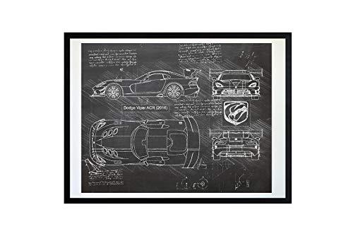 (#216 Dodge Viper ACR 2016 Art Print, da Vinci Sketch - Unframed - Multiple Size/Color Options (16x20, Blackboard))