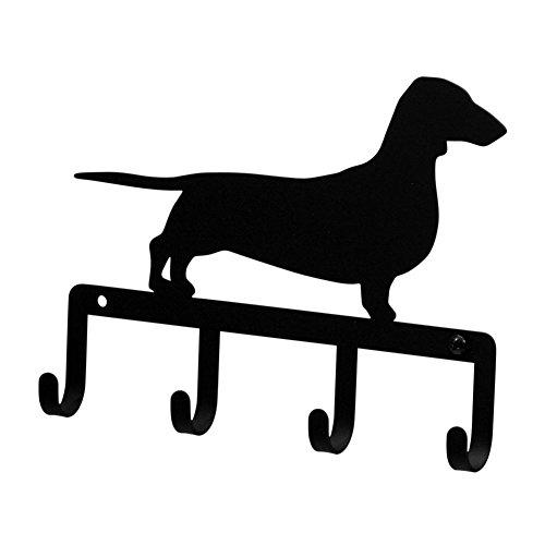 - Iron Dachshund Dog Key Rack / Jewelry Holder / Pet Leash Hanger - Black Metal