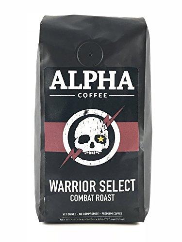Alpha Coffee, Dark Roast Coffee Beans, 12 oz. Robust Warrior Select Combat Roast, 100% Arabica Coffee, from Central America, Papua New Guinea