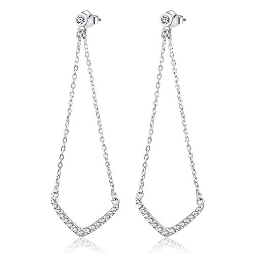 Esberry 18K Gold Plating 925 Sterling Silver CZ Inverted Triangle Chain Dangle Earrings Cubic Zirconia Drop Earrings Jewelry for Women and Girls (White Gold-CZ)