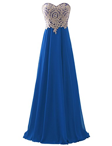 Erosebridal Sweetheart Long Prom Dress with Gold Embroidery Royal Blue - Bodice Satin Cocktail Dress