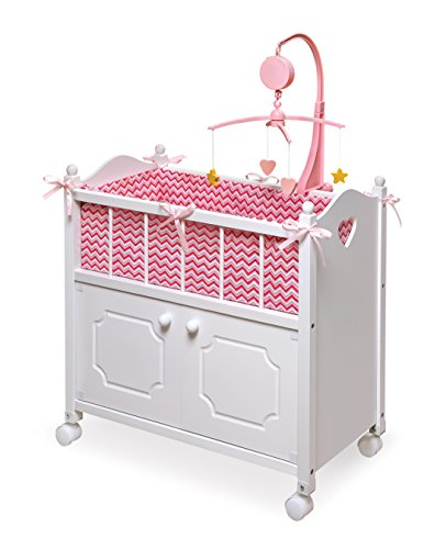 Badger Basket Doll Crib with Cabinet, Bedding and Mobile - Chevron Print Toy, White/Pink