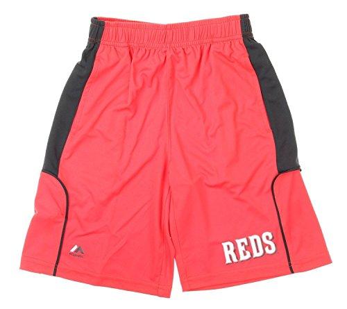 Majestic MLB Cincinnati Reds Big Boys Youth Batters Choice Shorts, Red (Small (8))