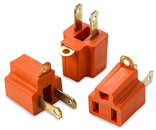 (3 prong To 2 Prong 3 Piece Grounding Adapter For Wall Outlet Plugs - Converters For Outlets, Electrical, Household, Workshops, Industrial, Machinery, And Appliances - UL Listed - By Katzco)