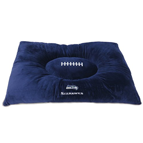 NFL PET Bed - Seattle Seahawks Soft & Cozy Plush Pillow Bed. - Football Dog Bed. Cuddle, Warm Sports Mattress Bed for Cats & Dogs