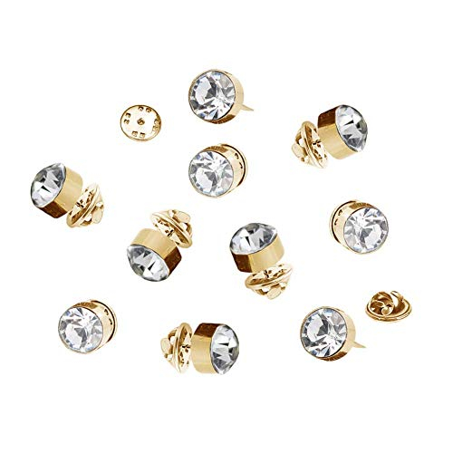 Joyci 10-Pack Women Shirt Brooch Gold Base Crystal Decorate Mini Lapel Collar Pins Novelty Stud Safety Buckle Metal Tie Tacks Clutch (Clear White)
