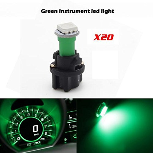 Partsam 20PCS Green T5 37 74 PC74 5050 SMD Instrument Panel LED Light Gauge Cluster Dash Indicator Bulbs with Twist Lock Socket (2012 Mitsubishi Galant Dash Kit compare prices)