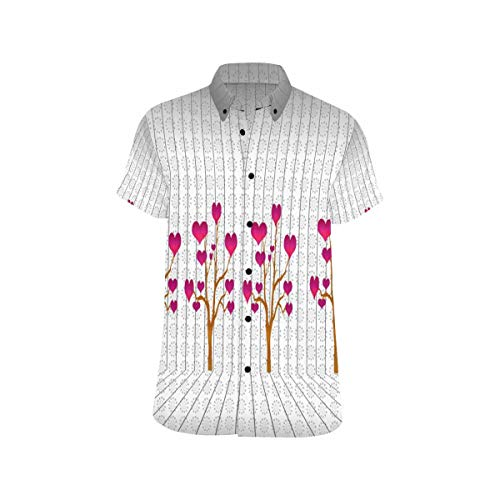 (InterestPrint Men's Botton Up Floor and Wall with Tree of Hearts T Shirts Casual Short Sleeve Tee Shirts L)