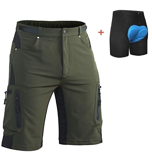 in Bike Short Bicycle Cycling Biking Riding Shorts Cycle Wear Relaxed Loose-fit (Army Green-Padded, M 30