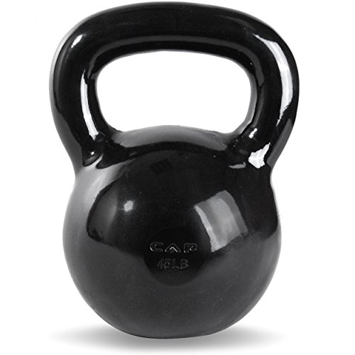 (CAP Barbell Black Powder Coated Cast Iron Kettlebell, 45-Pound)