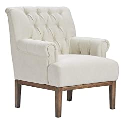 Farmhouse Accent Chairs Finch Westport Upholstered Accent Chair, Button Tufted, Solid Wood Legs, Rolled Arm, Ivory farmhouse accent chairs