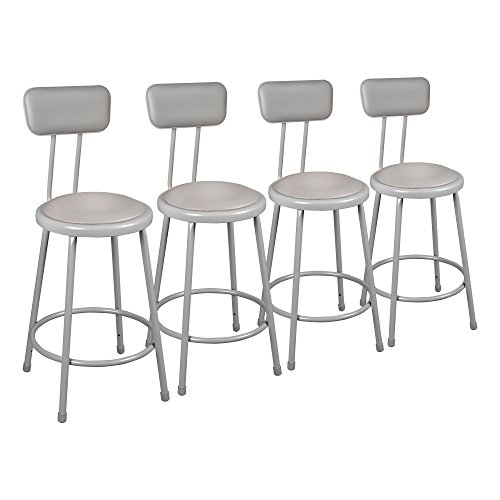 (Learniture Heavy Duty Padded Metal Lab Stool with Backrest, 30