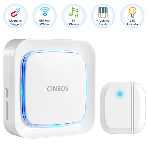 Door Alarm for Home/Office, Cinbos Wireless Door Open Chime, Range 656 Feet/52 Chimes/4 Level Volume/LED Flash Expandable Home Security Magnetically Triggered Window Entry Alert (Window Security Alert)