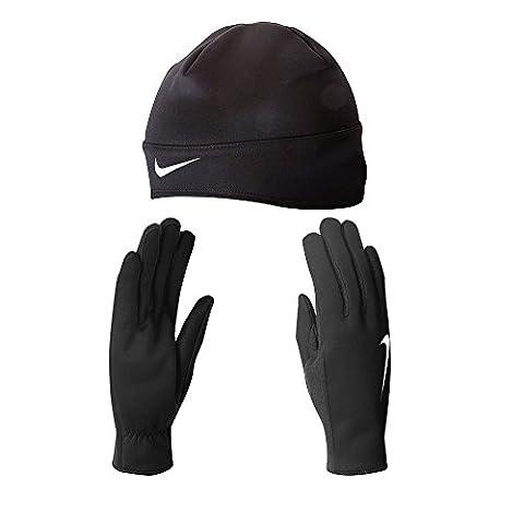Nike Women's Running Thermal Beanie/Glove Set (Medium, Black/Silver)