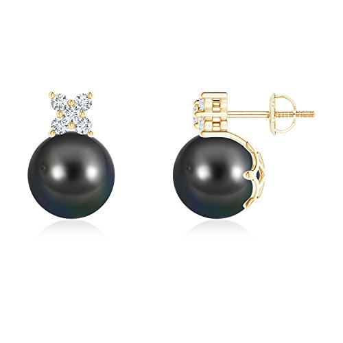 - Tahitian Cultured Pearl and Diamond Cluster Stud Earrings in 14K Yellow Gold (9mm Tahitian Cultured Pearl)