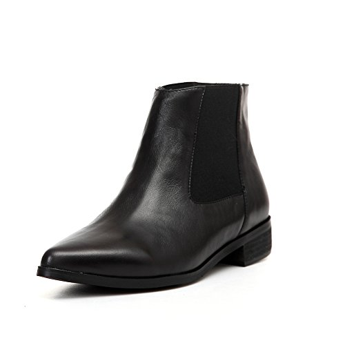 Genuine Leather Womens Inner Wedge Heel Pointed Toe Black Ankle Boots