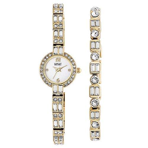 new-badgley-mischka-swarovski-crystal-ladies-gold-tone-watch-with-bracelet-set