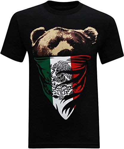 California Republic Mexican Flag Bandana Bear Men's T-Shirt - (Small) - Black - Mexican Bear