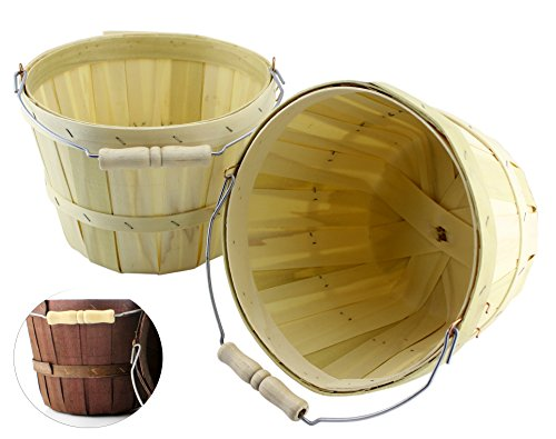 Half Peck Round Wooden Baskets (2-Pack); Natural Wood Fruit & Vegetable Picking Basket with Wire Bail/Wood Handle; Also Great for Arts & Crafts or Easter Basket, 6.5-Inch x 8.5 Inch