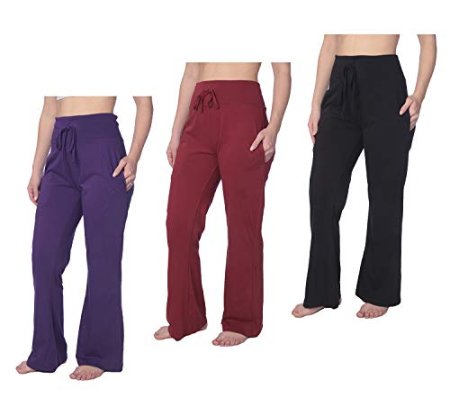 (Women's Long Leg Jersey Knit Pajama Lounge Pant Available in Plus Size HWLP01_19 3 Pack)