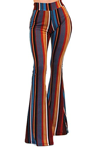 (Vivicastle Women's Boho Comfy Stretchy Bell Bottom Flare Pants (FF43, Multi, Large))